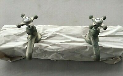 Antique Pair Nickel Brass Separate Hot Cold Sink Faucets Taps Vtg Crane 188-19J