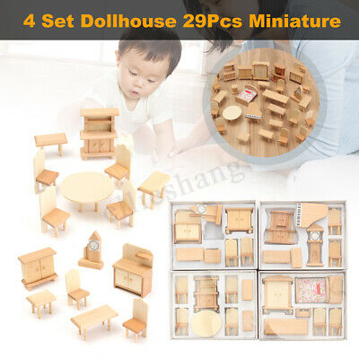 29Pcs 1:24 Scale Dollhouse Miniature Wooden Furniture Models Accessories DIY Kit