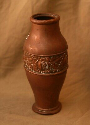 "Antique Rose Embossed Hammered Copper 8"" Vase Art Nouveau Floral"