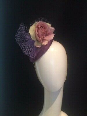 Nude purple lilac Sinamay Flower veiling Hat Fascinator Races Hair prom ascot