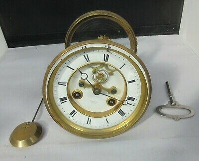 Victorian french 8 day mantle clock movement visible escapement H Marc J Freres