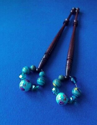 Pair Wood Lace Bobbins. Turned & Brown. Turquoise Spangles.