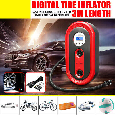 12V Cordless Tyre Inflator Car Air Compressor Electric Tyre Pump w/ Digital LCD