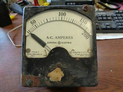 GENERAL ELECTRIC ANTIQUE DC AMPERES METER Steam Punk - Free Shipping!