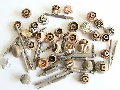 Antique & vintage crowns and stems for watchmaker.  Pocket watch parts.