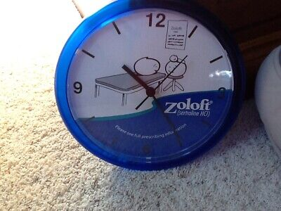 """Pharmaceutical Drug Rep Promotional ZOLOFT 10"""" Wall Mount Clock"""