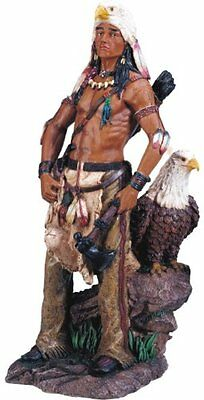 "16.5"" Inch Indian Statue Figure Western Figurine Warrior Indio American Eagle"