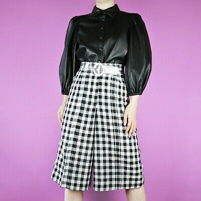 VINTAGE White Black Crop High Waist Check Flared Pattern Midi Culottes S 8 10