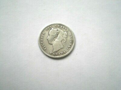 Early Hard To Find Silver Victorian-5 Cent-Coin From Canada -Dated 1888-