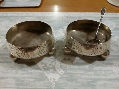 c1879 pair of solid silver salt cellars, one spoon all from same year and maker.