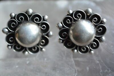 Vintage Sterling Silver Ornate Floral Clip Earrings MFX