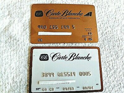 CARTE BLANCHE ~ Lot of 2 Credit Charge Cards ~ Expire dates 1975 & 1984