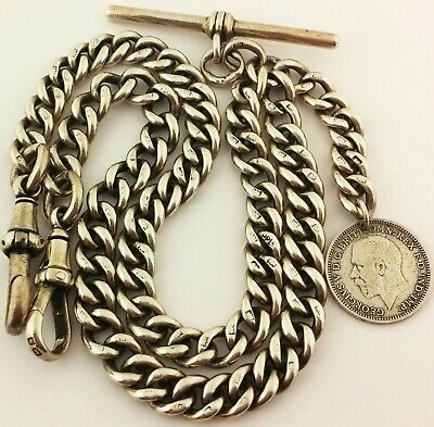 Long Antique English Hallmarked Solid Silver Double Albert Pocket Watch Chain