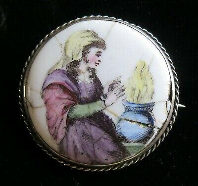 Antique Victorian Sterling Silver Enamel Panel Brooch Pin Beggar Woman (14949)