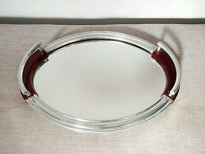 Original Vintage Art Deco Chrome Tray - Cocktail Drinks Red Bakelite 1930s