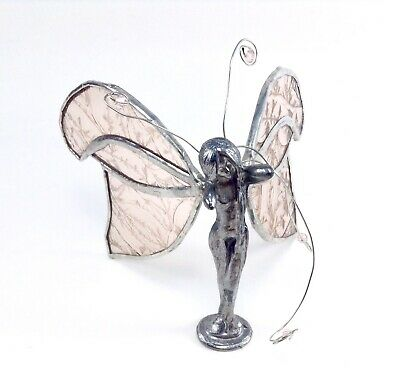 VTG Pewter Pixie Fairy Pink Stained Glass Wings 1984 Signed C.C. Angel Butterfly
