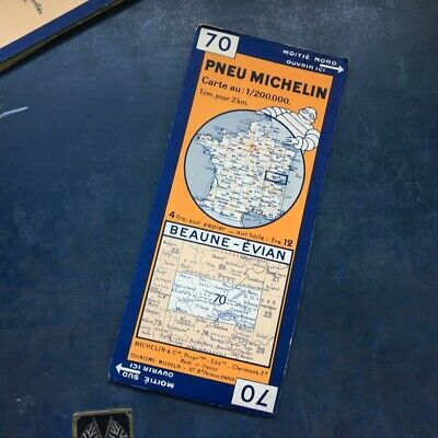 Rare Vintage Michelin map 70 Baune-Evian 1933
