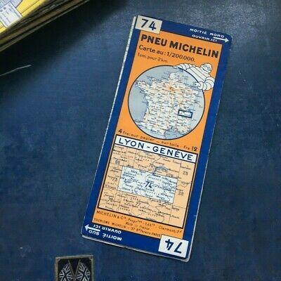 Rare Vintage Michelin map 74 Lyon-Geneve 1932