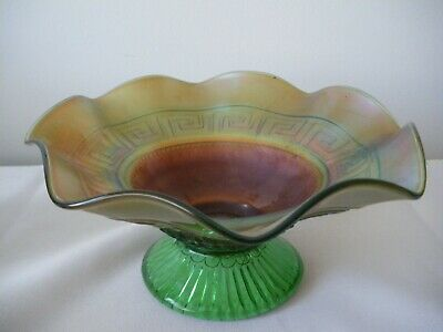 Antique Northwood Green Greek Key Carnival Glass Domed Footed Bowl