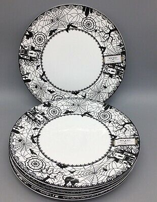Ciroa Wicked Haunted House Spider Halloween Dinner Plates 10.5 in.  Set Of 4