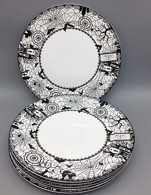 """Ciroa Wicked Haunted House Spider Halloween Side Plates 8""""  Set Of 4"""