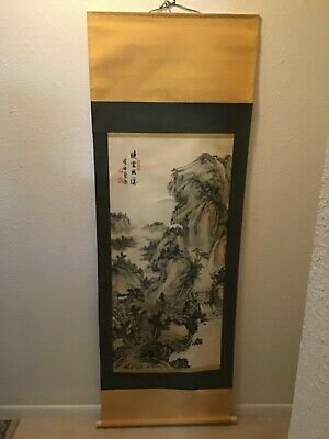 Antique Signed Japanese Hand Painted Scroll Painting Art Wall Hanging In Box A1