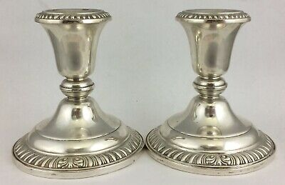 PAIR Antique STERLING SILVER Pedestal CANDLESTICKS Candle Sticks FRANK WHITING