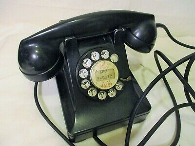 Vintage Western Electric Bell System F1 Rotary Dial Desk Phone, Black Telephone