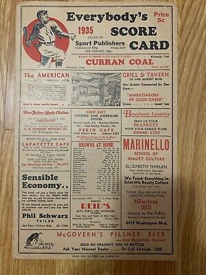 RARE 1935 ST LOUIS CARDINALS BB SCORECARD v Cincinnati - HALL-OF-FAME Dizzy Dean