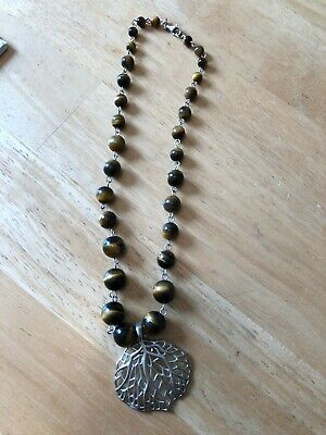 QVC Sterling Tiger's Eye Bead Necklace w/Enhancer