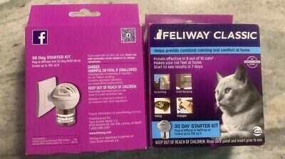 Feliway Classic 30 Day Starter Kit Plug In Diffuser & Refill 48 ml-TWO NEW
