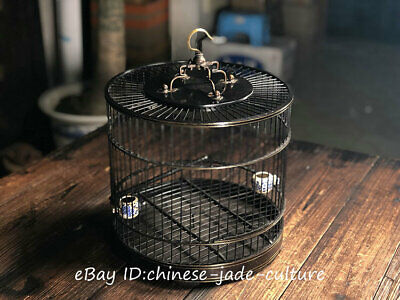 "14"" 1960s Old Chinese Huanghuali Wood Bronze Handwork Noble Classical Birdcage"