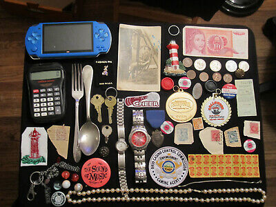 Junk Drawer Lot estate sale old coins old marbles ITALY sterling vtg spoon watch