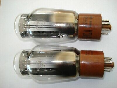 Pair 5R4GY rectifier tube RCA brown base black plates used tested