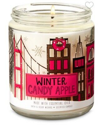 Bath & Body Works WINTER CANDY APPLE Single Wick Candle Essential Oils 7oz.