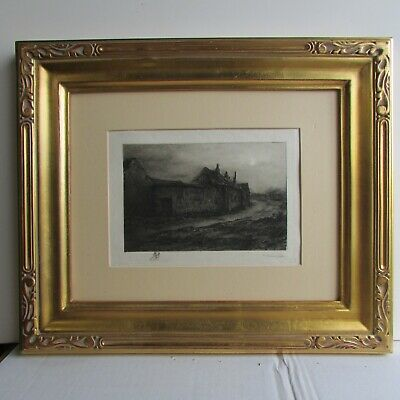 Antique Barbizon School Etching A French Village Scene by Frederic Jacques