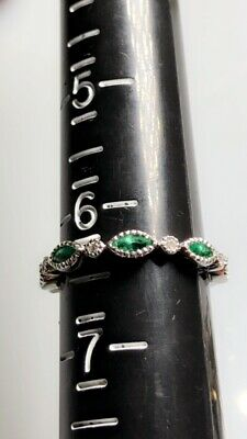 Emerald Diamond Ring 14k Solid White Gold Size 6