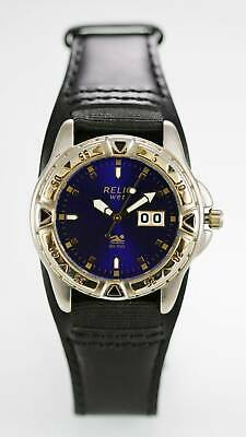 Relic Watch Mens Date Stainless Gold Silver Black Wide Leather 50m Blue Quartz