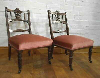 Antique Victorian pair of carved walnut bedroom chairs / nursing chairs