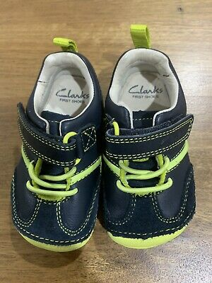 Toddler Boys Clarks First Shoes, Size 3 1/2 G (UK), Navy Blue & Lime, (EUC)