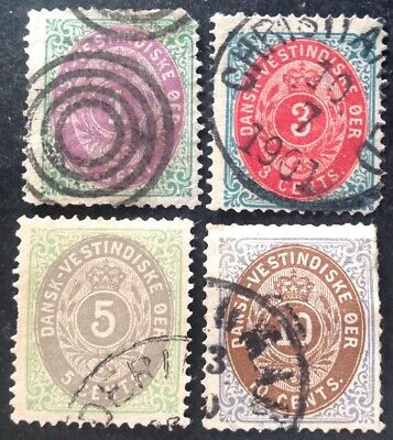 Danish West Indies 1873 4 X Stamps All Used