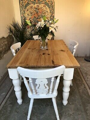 Vintage Pine Chunky  Farmhouse Kitchen Dining Table And Chairs
