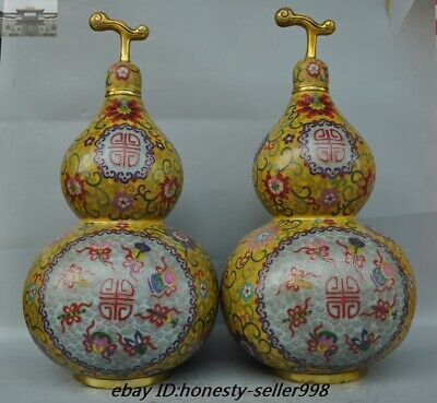 "20""Old Chinese Bronze Cloisonne enamel eight treasures Gourd Bottle Jar Pot Pair"