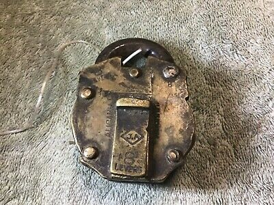 antique Brass padlock with key JA Honest 8 lever
