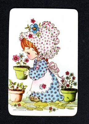 Vintage Swap  Card - Cute Girl with Flower Pot (BLANK BACK)