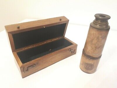 Antique Brass and Leather Stanley of London Telescope (1885) with wooden box.