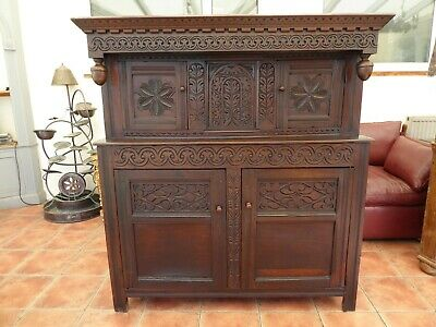 Country Oak  Court Cupboard 1680   Free Shipping To England
