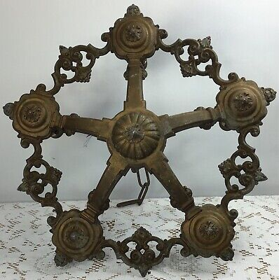 Antique Cast Aluminum Art Deco 5-Candle Ceiling Light Fixture Chandelier