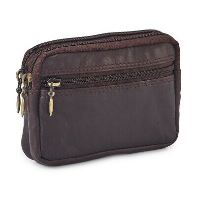 Mens/Ladies Small Soft REAL Leather Zipped Coin Purse/Key Holder - Brown