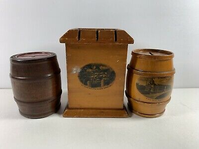 3 Vintage Wooden Banks 2 Barrels Boston + Square New York Mansion Albany Adv.